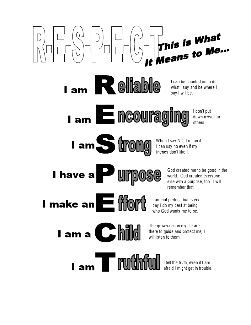 character educationrespectlesson plan Lesson plans – Worksheets on Respect