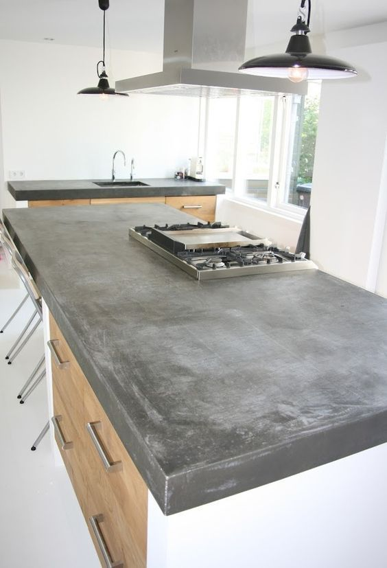 Kitchen Dark Concrete Counters In Comparison To Soapstone Kitchen Benchtops Concrete Kitchen Home