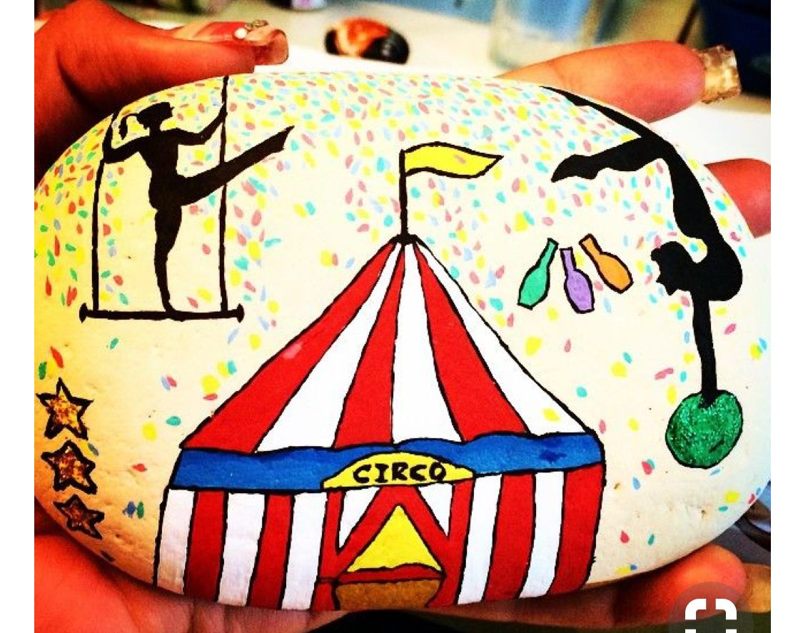 Circus Tent Acrobats Painted Rock Painted Rocks Stone Painting Art