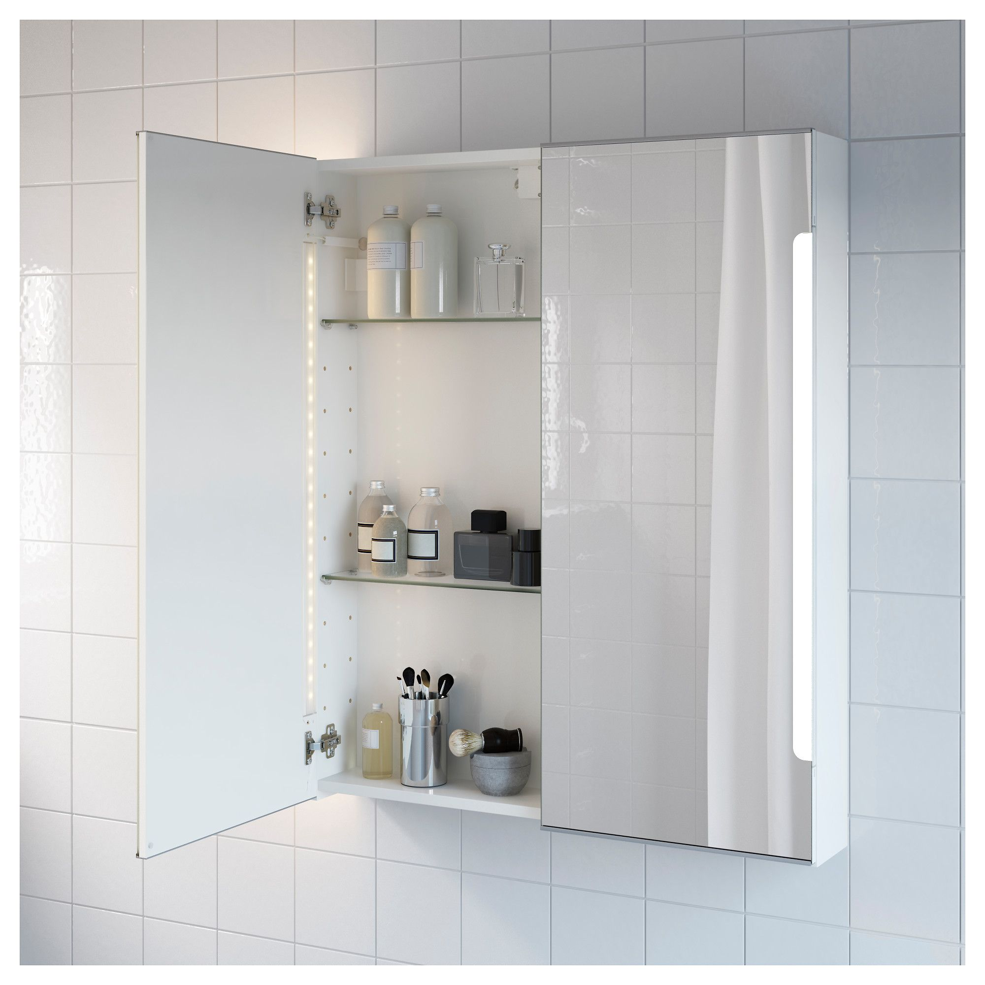 IKEA - STORJORM Mirror cabinet w/2 doors & light white | Products ...