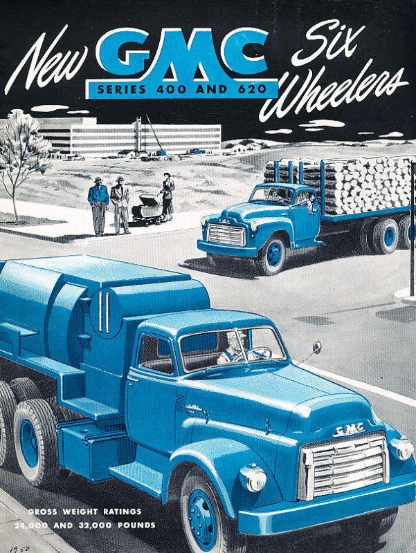 1950 Gmc 400 620 6 Wheelers Truck Sales Brochure Cars Vintage 1950 S