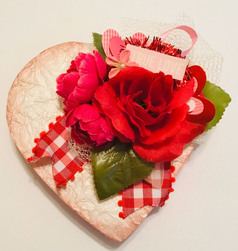 Valentines Heart Shaped Box Valentine Assemblage Small Etsy Valentine Box Handmade Valentine Heart Decorations