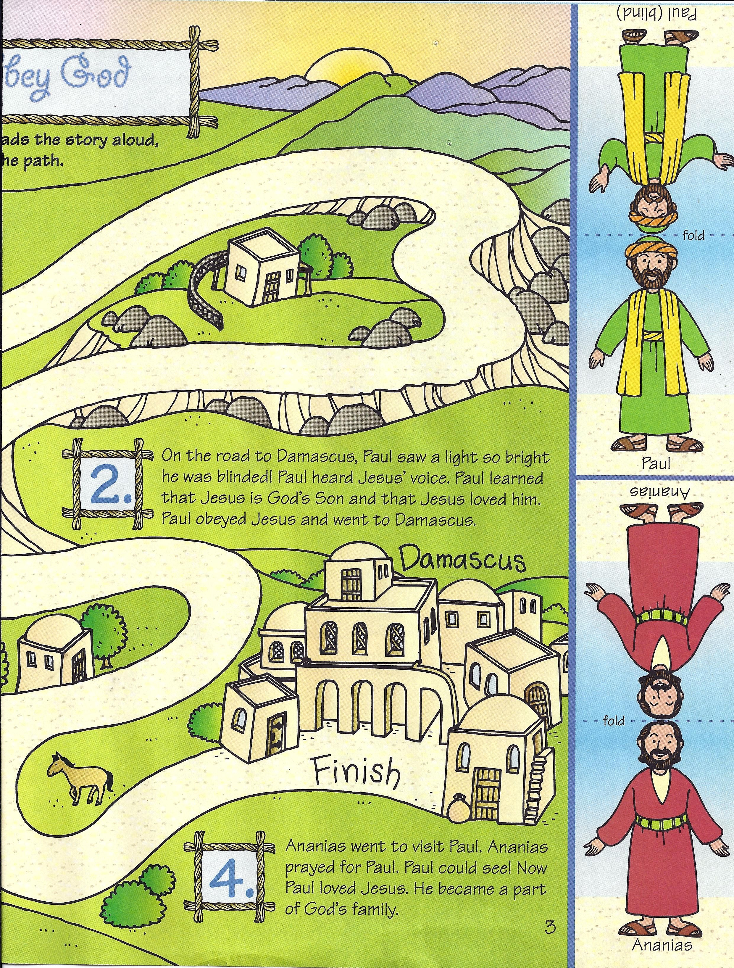 Childrens coloring sheet of saul and ananias - Paul And Ananias