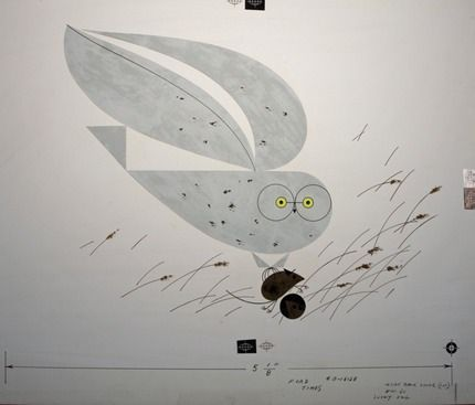 """""""Snowy Owl"""" by Charley Harper. Gouache and cut paper on illustration board. Ford Times, November 1960 http://www.harperoriginals.com/charleys-originals/snowy-owl/"""