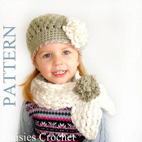 2 Patterns Pdf Crochet Hat Scarf Newborn Infant Toddler Girl Adult
