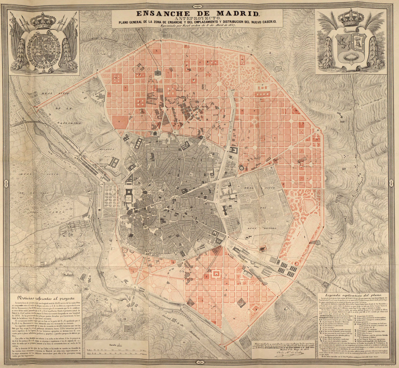 Plano De Ensanche De Madrid 1857 Plan Castro Arquitectura Del Siglo Xix Siglo Xix Historia Del Arte