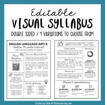 Editable Visual Syllabus Template for Back to School Hello - syllabus template