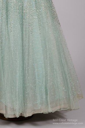 7faca1410a3 1950 s Sea Foam Green Sequin Encrusted Vintage Ball Gown   Mill Crest  Vintage