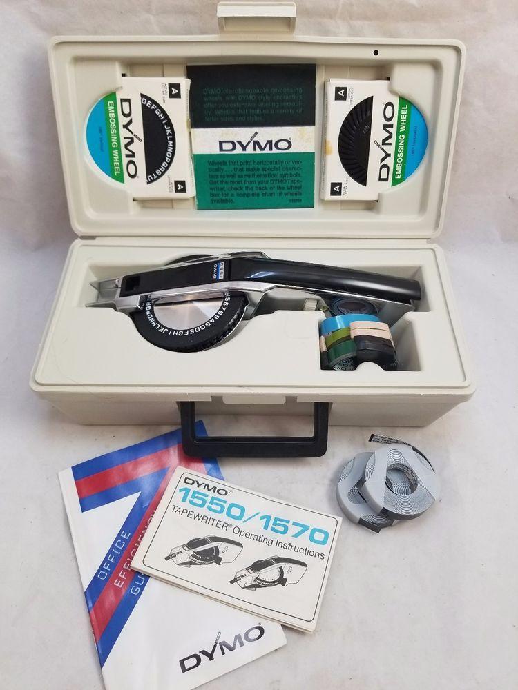 Vtg Dymo 1550 Chrome Professional Label Maker Labeling Kit In Case W Wheels Tape Dymo Label Maker Labels Ebay