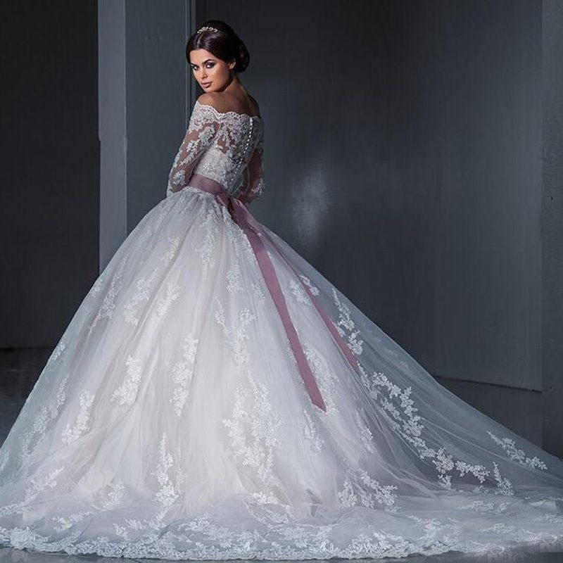 Cheap Luxurious Ball Gown Princess Lace Wedding Dresses 2017 New Off ...