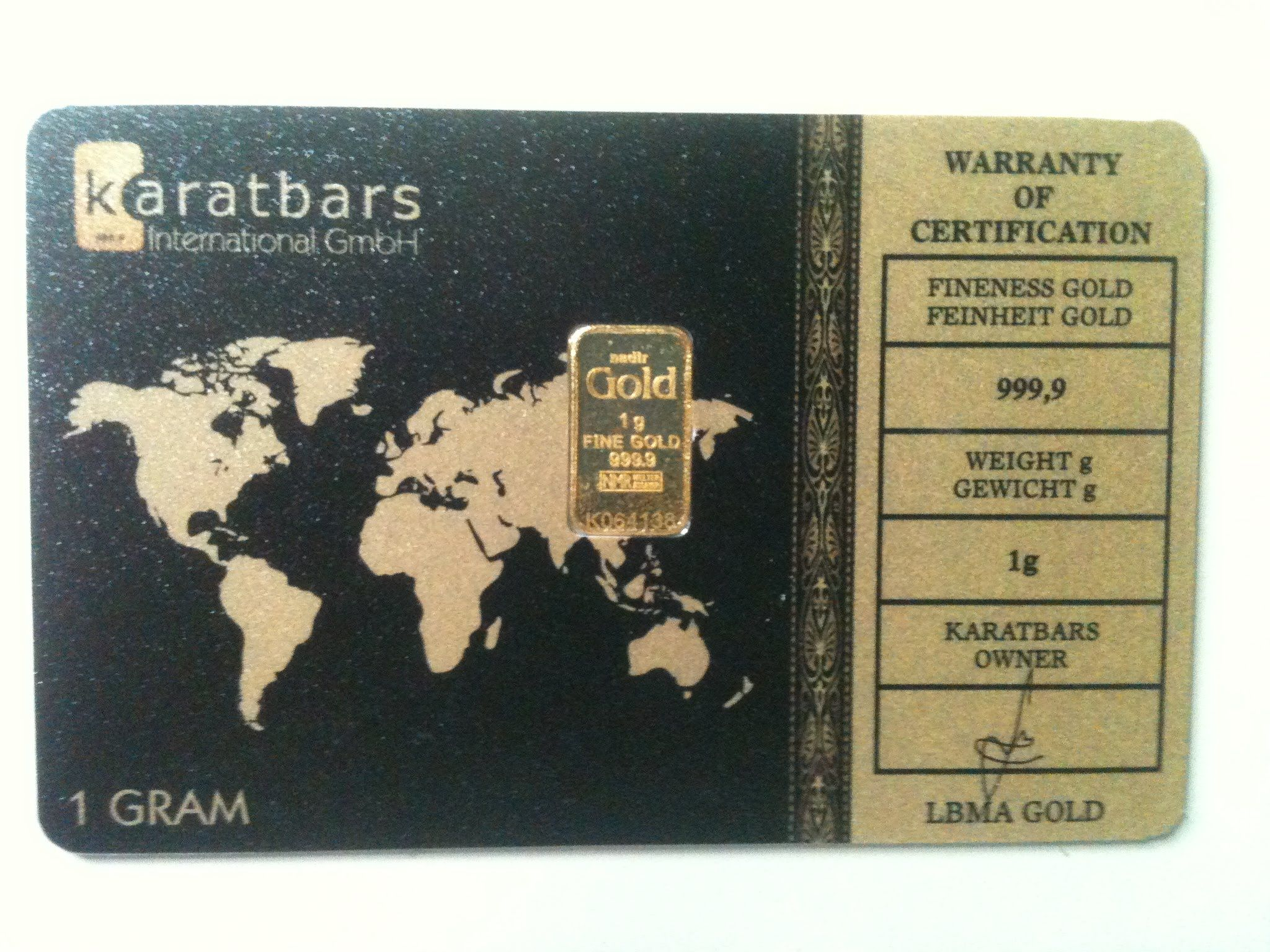 Karatbars offers pure gold in 1, 2 5 and 5 gram