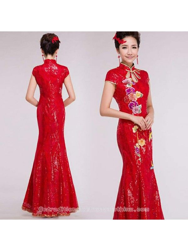 ff5aa660e40 traditional chinese clothing traditional chinese dress Embroidered floral  red sequins mandarin collar modern qipao floor length mermaid Chinese  cheongsam ...