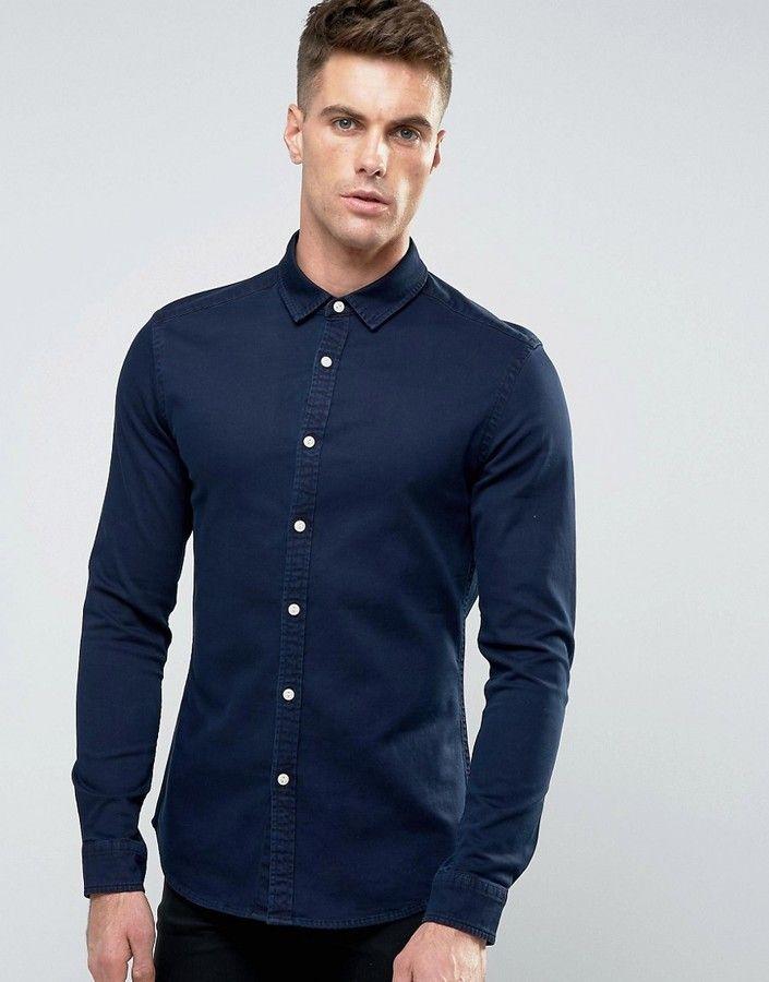 Men shirts · ASOS Skinny Denim Shirt In Navy Overdye