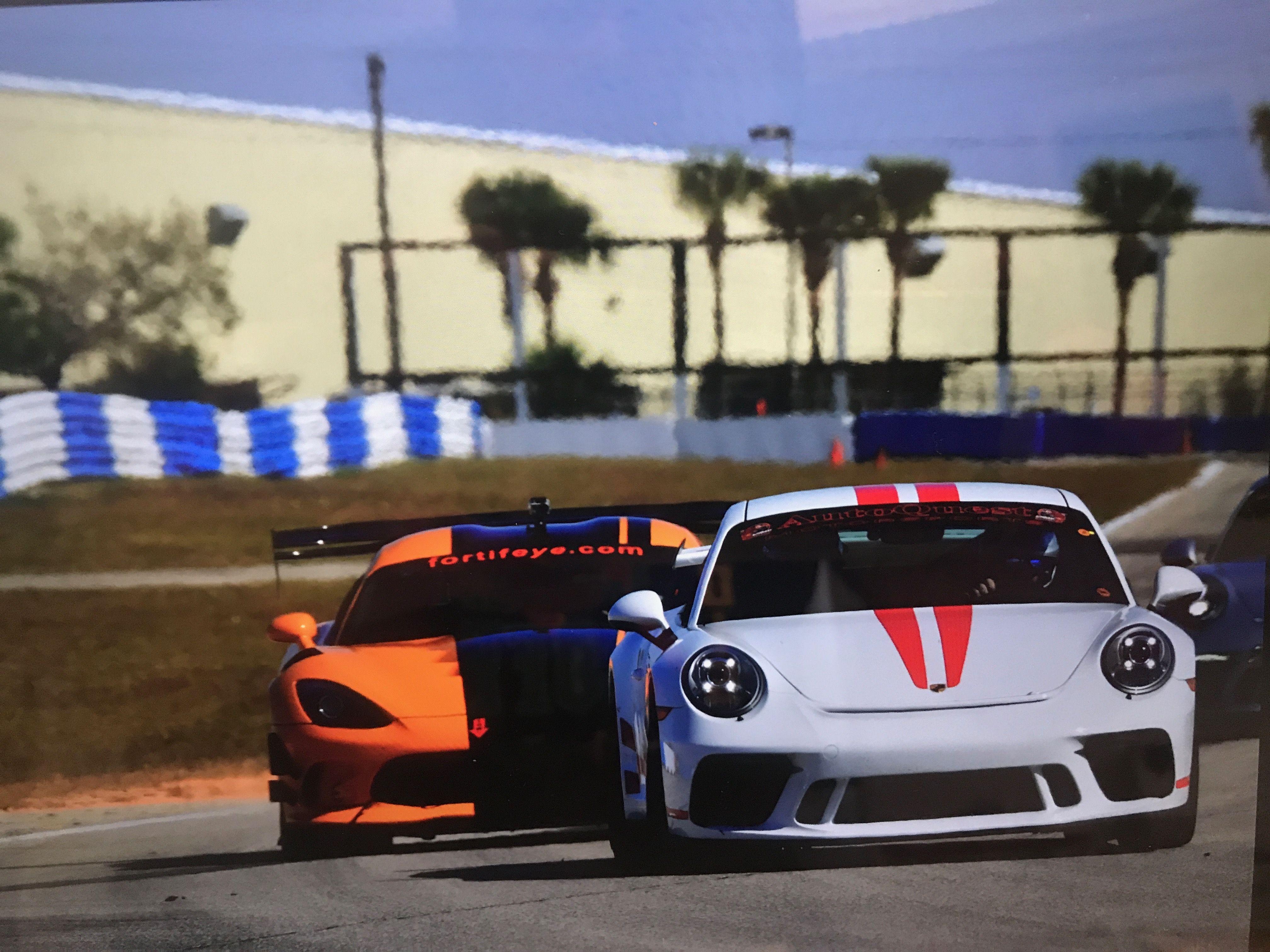 Dr Michael P Lange In Fortifeye Orange Viper Preparing To Pass Porsche Gt3 At Sebring Raceways Dr Michael Lange Ocala Sebring Raceway Race Cars Porsche Gt3