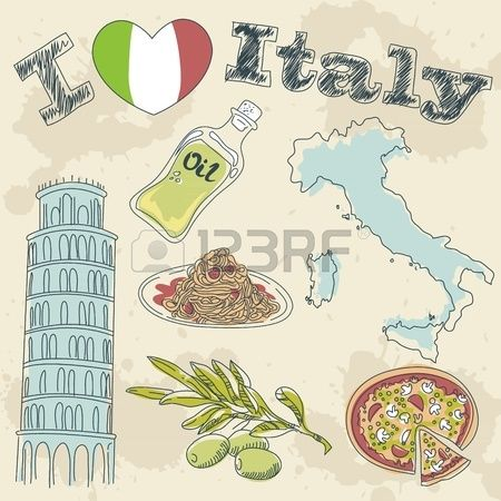 Italy travel grunge card with national italian food, sights, map and flag Stock Photo - 13288510