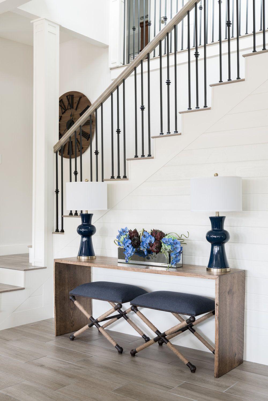 entryway table navy blue stools iron staircase white shiplap rh pinterest com