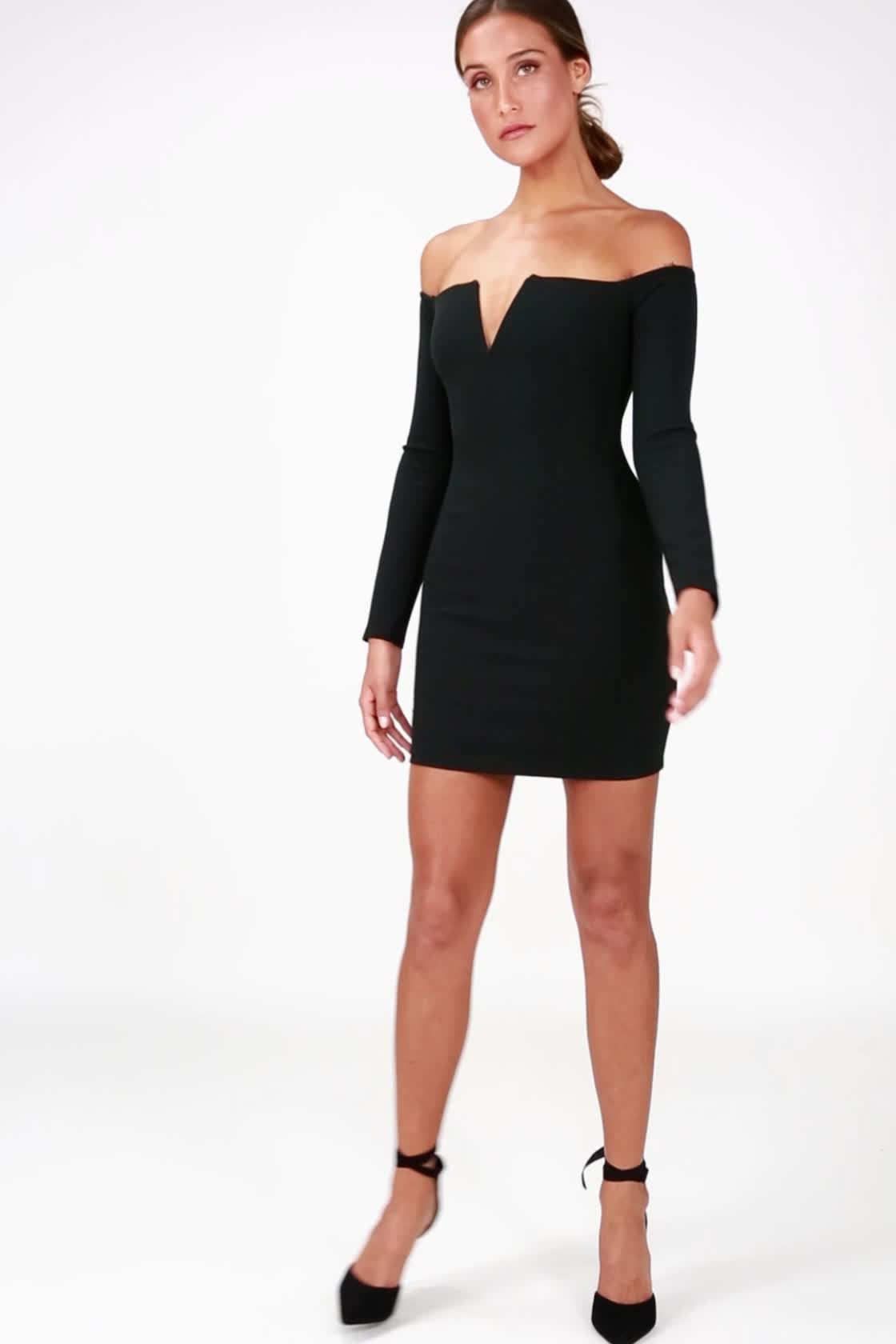 fc1debededb8 Over the Swoon Black Off-the-Shoulder Bodycon Dress in 2018 ...