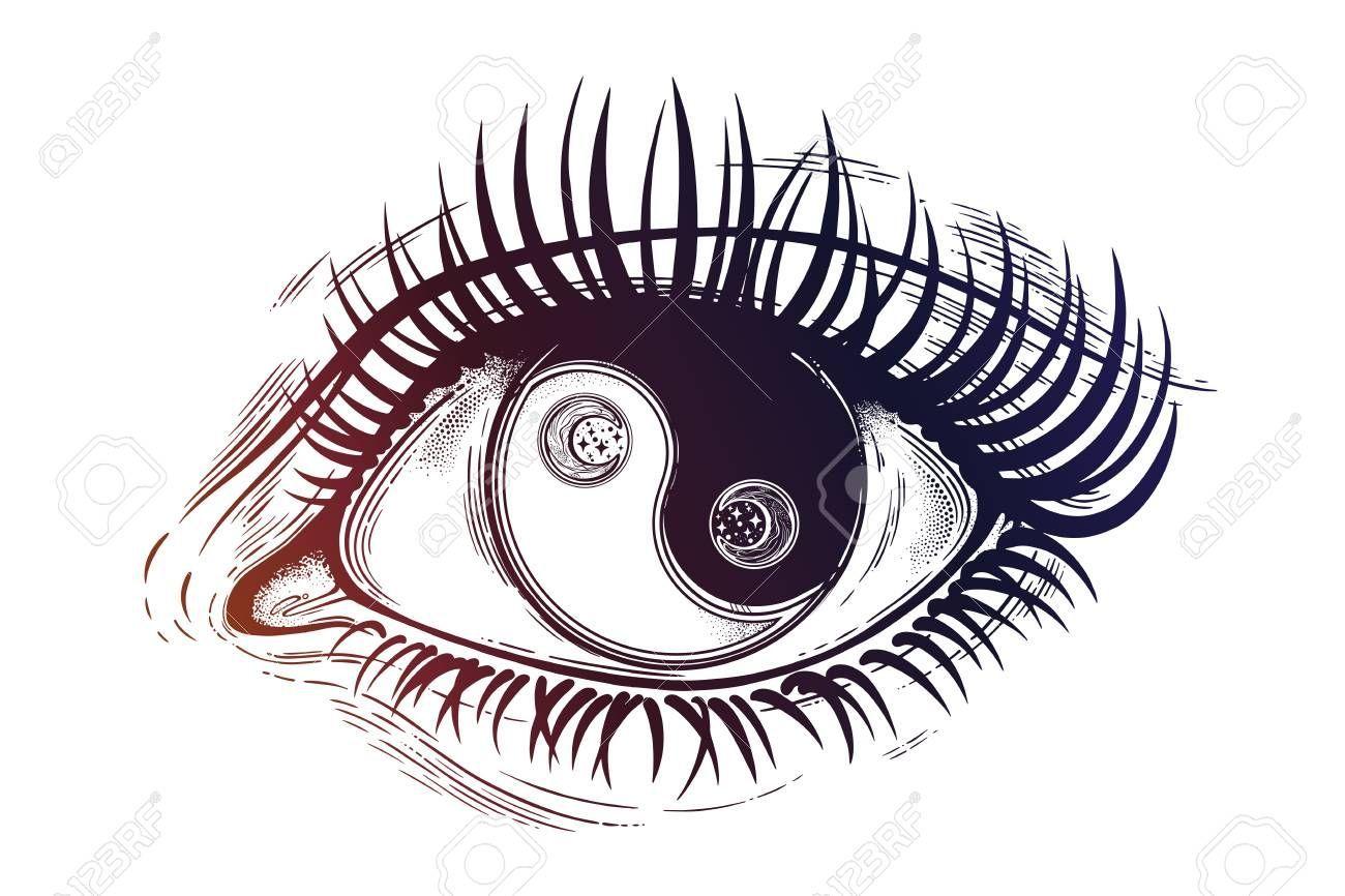 Vector Beautiful Eye With Pupil As Yin And Yang Symbol Dibujos De Ojos Dibujo Simbolico Arte Yin Yang
