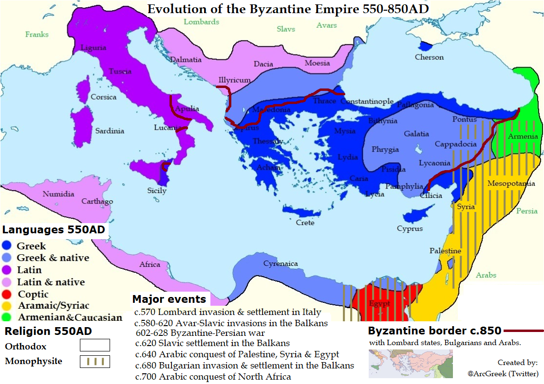 Transformation Of The Byzantine Empire Between 550 850 Ad