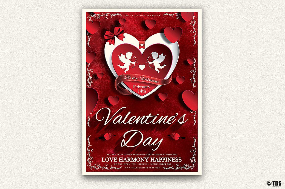 Valentines Day Flyer Template Psd Design For Photoshop V  Flyer