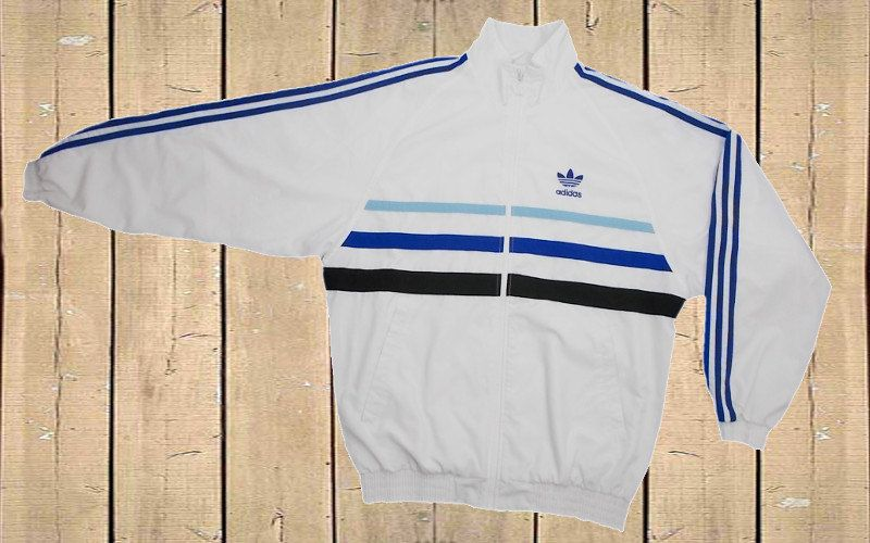 Adidas D5 F174 Tracksuit Top Jacket White, Blue and Black