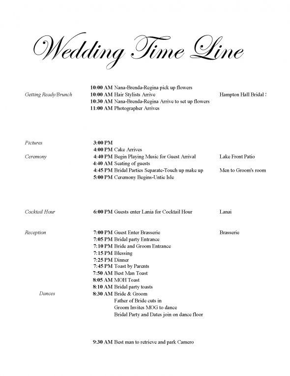 Wedding Day Timeline 3 30pm Ceremony