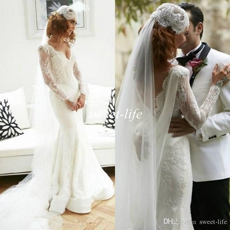 2016 Fall Winter Lace Mermaid Wedding Dresses Long Sleeves Backless Sheer Neck Deep V-Neck Sweep Train Cheap Vintage Bridal Wedding Gowns Online with $140.16/Piece on Sweet-life's Store | DHgate.com