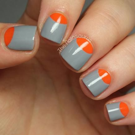 Half-Moon Manicure in Orange and Grey by The Nailsaurus #nailart #naildesign #nails #manicure #divinecaroline
