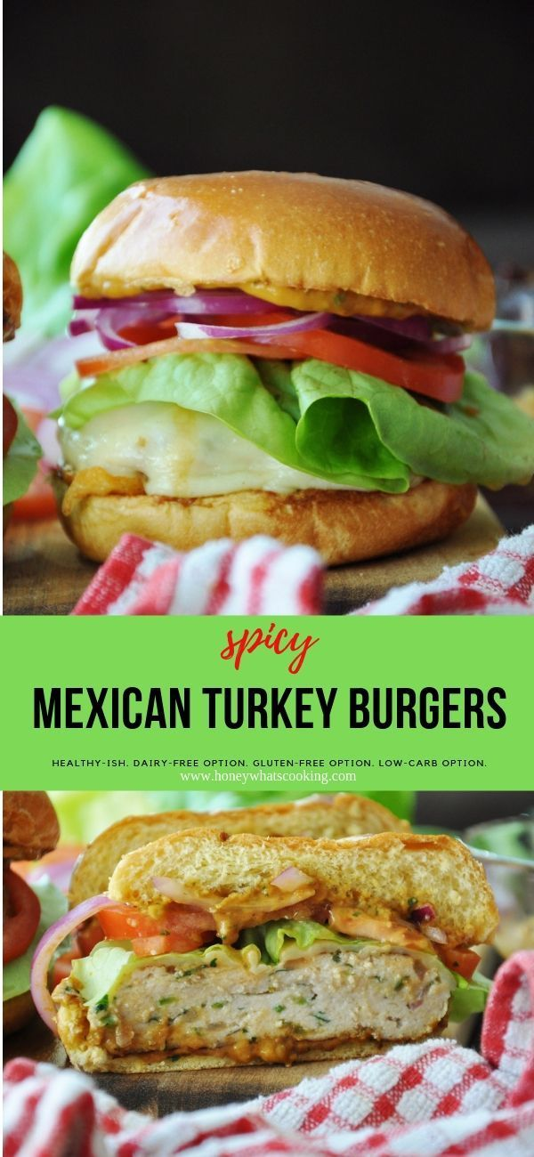 Spicy Mexican Turkey Burgers + Vegan Chipotle Cream Sauce (healthy-ish) – Honey, Whats Cooking