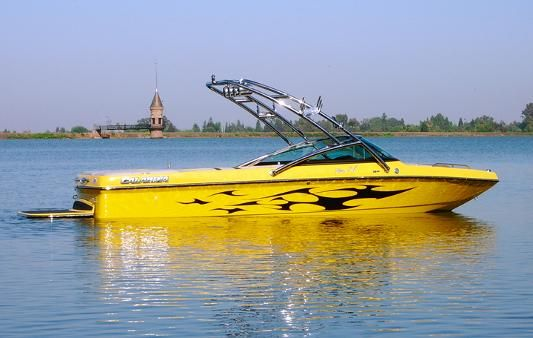 Yellow Total Covering With Black Patterns On Little Boat