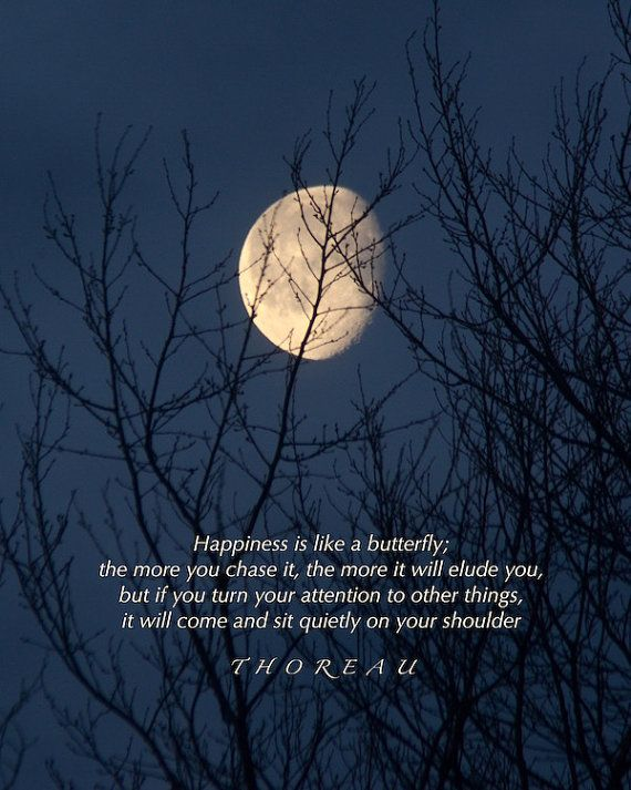 Happiness Is Thoreau Quote Golden Moon Photograph With