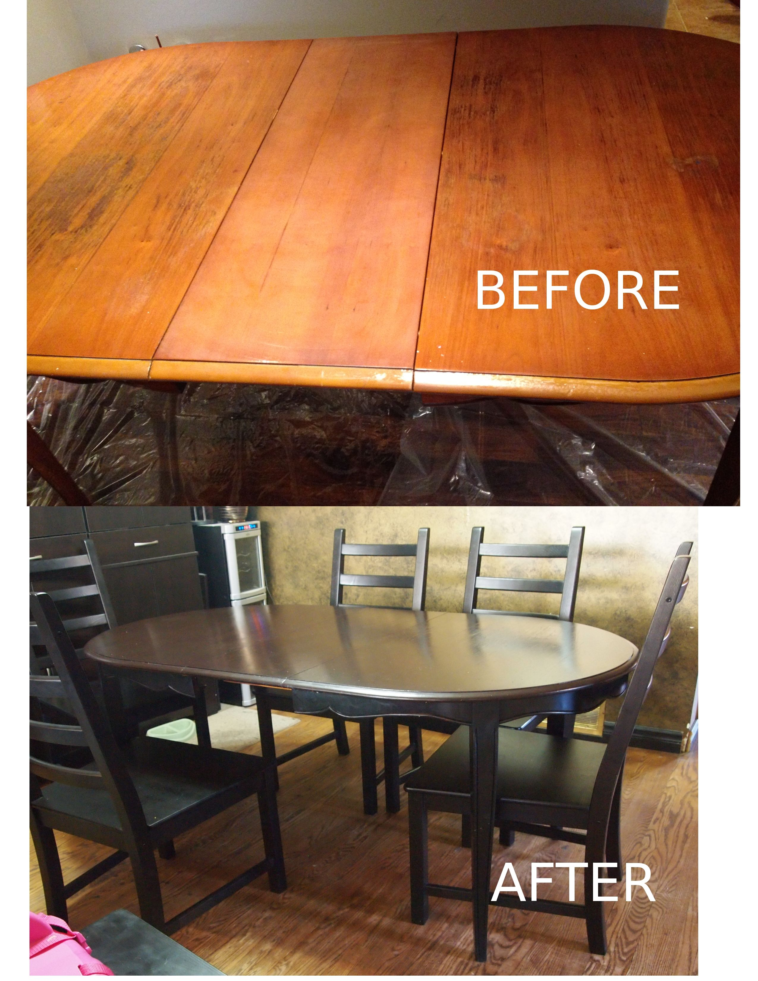 Table Refinished In General Finishes Gel Stain In Java And Black