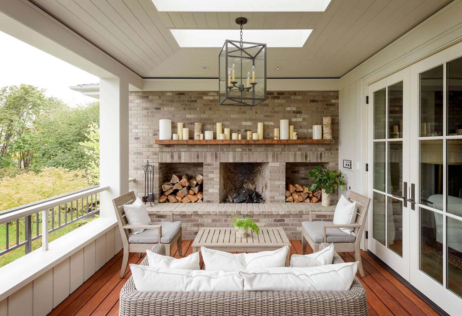 Modern farmhouse inspired residence on a woodsy Seattle property #outdoorbalcony