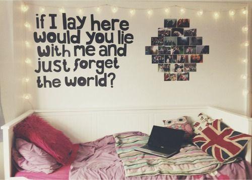 quote, fairy lights, bed, teen bedroom