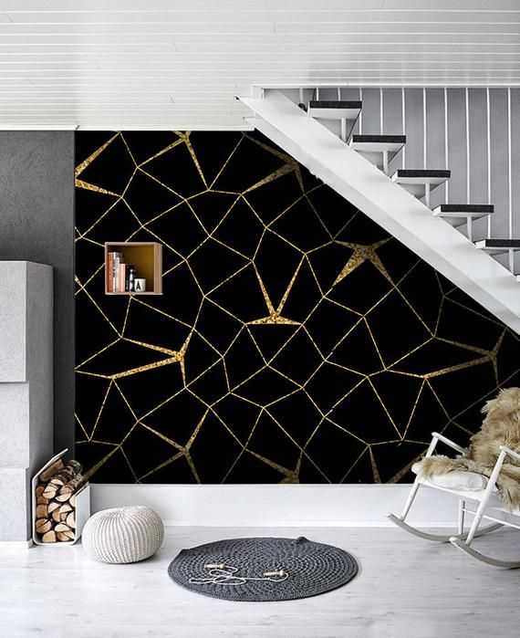 Mosaic Gold Black Removable Wallpaper Golden And Black Wall Mural Large 403 Gold Accent Wall Black Walls Removable Wallpaper