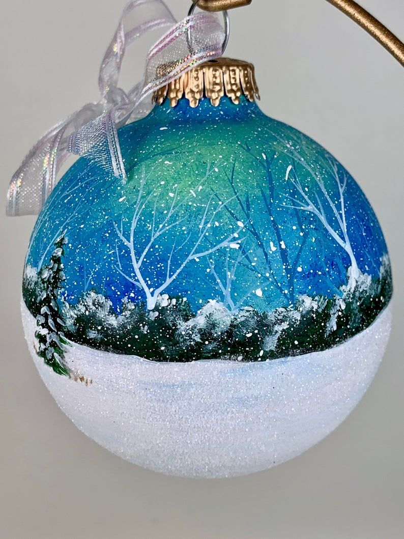 Family W Dog Walking Through Snow Dragging Christmas Tree Snowing Yellow Sunset Hand Painted Christmas Ornament Glitter Acrylic Paint In 2020 Painted Christmas Ornaments Christmas Ornaments Ornaments