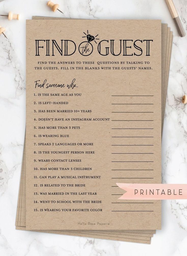 Find the Guest Who . Printable Bridal Shower Fun Icebreaker   Etsy