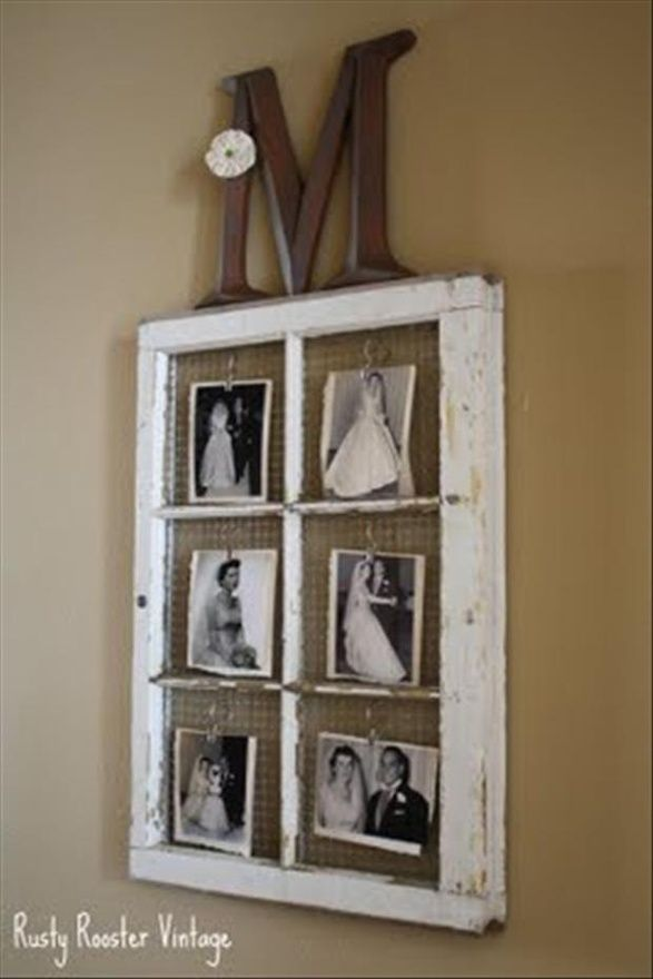 old window frame, chicken wire and photos