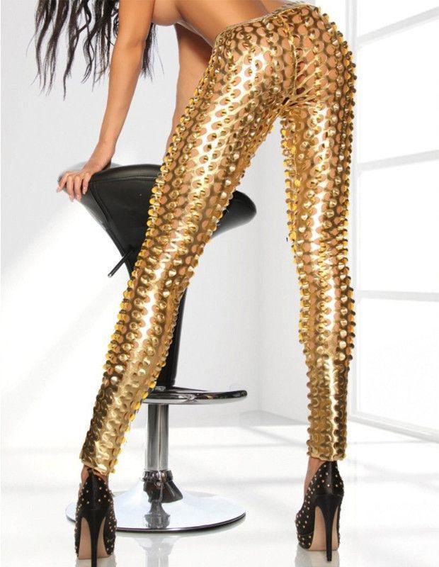 9b3d80f94bd97 Sexy Punk Metallic Gold Scale Shiny Cutout Tights Leggings in 2019 ...