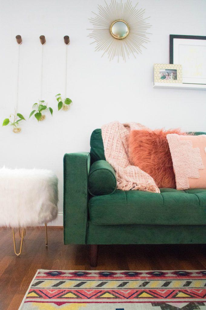 Boho Chic Living Room Green Sofa Aztec Rug Indoor Plant Ideas Green Couch Living Room Green Sofa Living Room Chic Living Room Decor