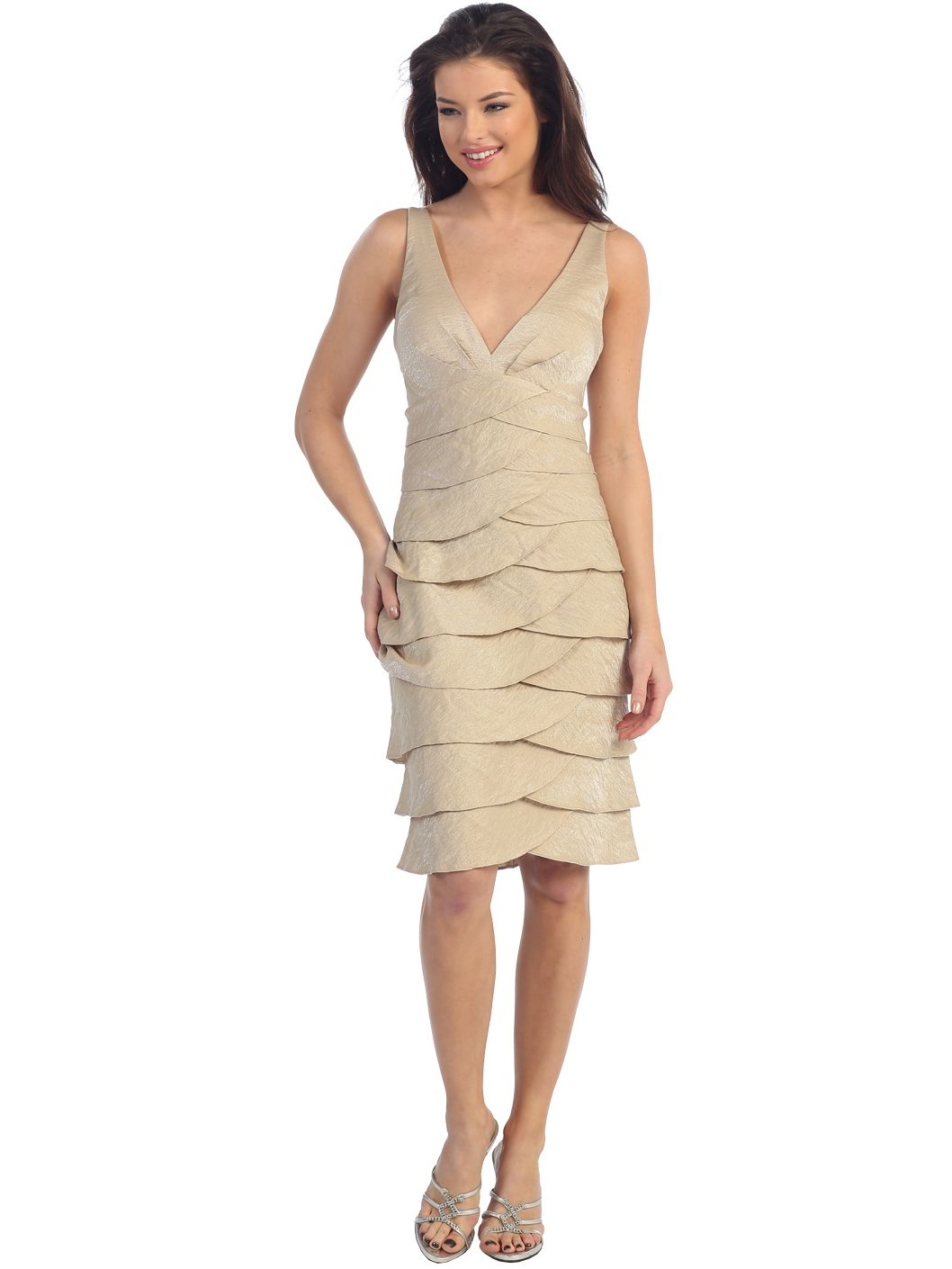 Tier A-line Cocktail Dress featuring surplice V-neckline, shimmering ...