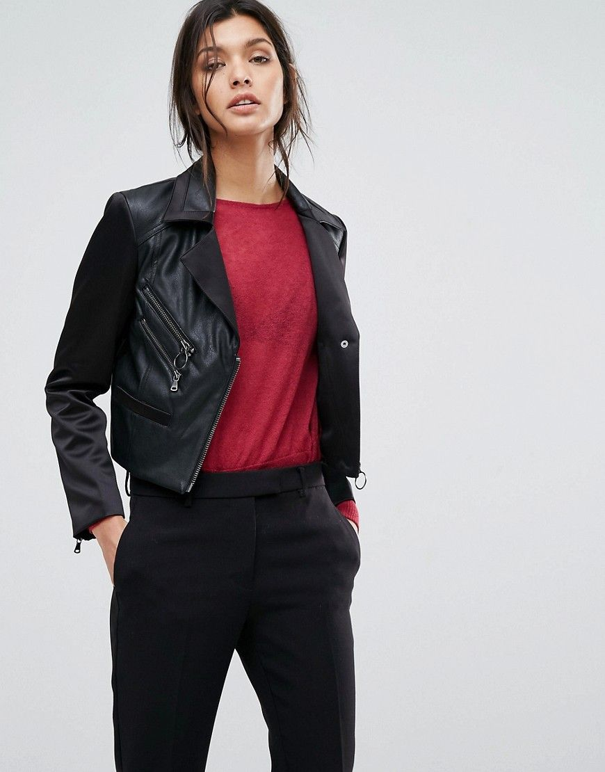 60dcfd1d2 Sisley Faux Leather Biker Jacket With Zip Details - Black | Jackets ...