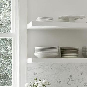 Stacked KItchen Shelves with Vintage Bulb Sconce | Kitchen ... on Corner Sconce Shelf Cabinet id=55539