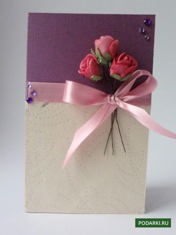 Как сделать открытку а на ней роза