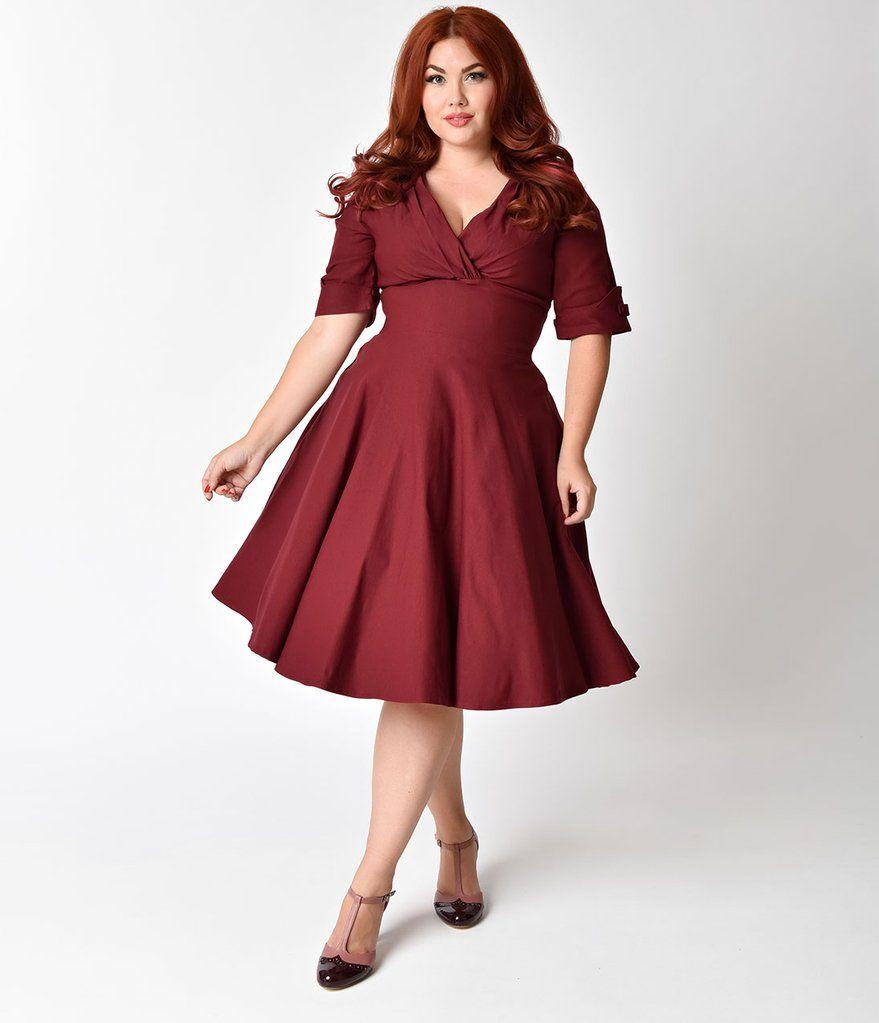 Unique Vintage Plus Size 1950s Burgundy Red Delores Swing Dress With Sleeves Vintage Dresses Plus Size Cocktail Dresses Swing Dress With Sleeves
