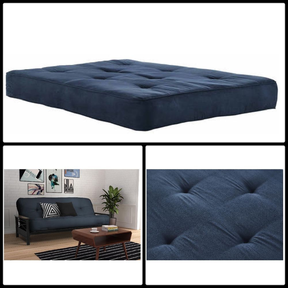 Full Size Futon Mattress Blue Dorm Bedroom 8 Inch Foam Comfort Sleep Decor Dormroom Dormroomideas Ebay