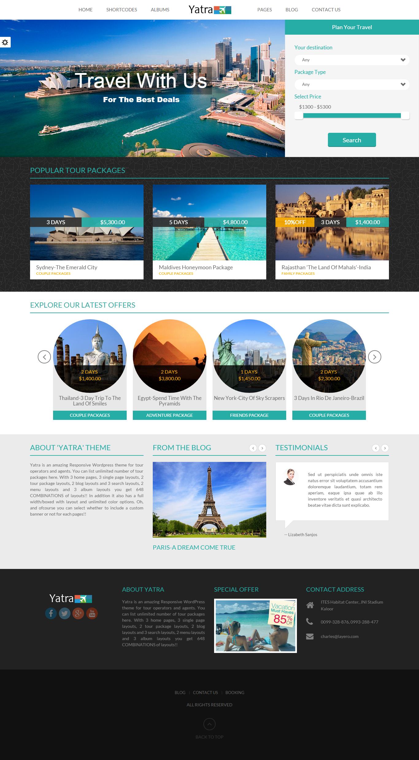 Yatra travel WordPress theme home page layout 3 #travel #booking ...