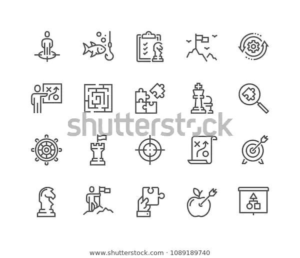 Business Strategy Icon Set Stock Vector Royalty Free 1109241254