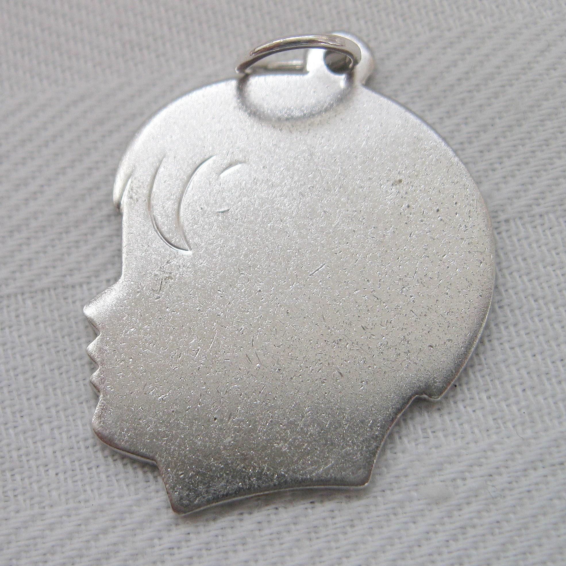 Retro Sterling Silver Silhouette Boy by Forstner Engraved Charm