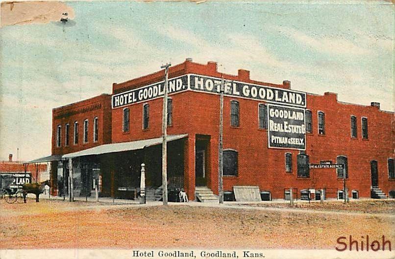 Hotel Goodland Ks Kansas Real Estate Signs Early Postcard 5595